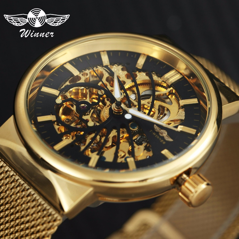 WINNER Ultra Thin Men Auto Mechanical Watch Golden Bird Pattern Design Skeleton Dial Mesh Strap Top Brand Luxury Wrist Watches winner luxury ultra thin golden men auto mechanical watch mesh strap bird pattern skeleton dial top fashion style wristwatch