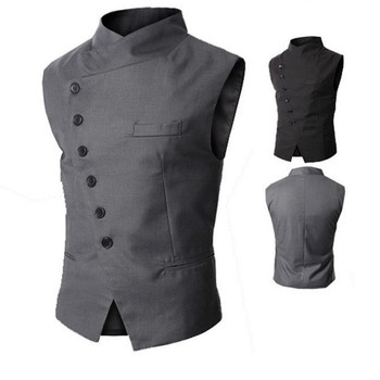 New men's vest vest turtleneck oblique mouth men suit vest wedding waistcoats single breasted waistcoat for sale Custom Made