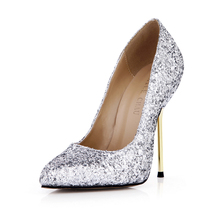 Newest Fashion Wexy Women zapatos mujer Pumps Thin Metal High-Weeled Glitter Shallow Pouth Pointed wedding Shoes 3845A-a2