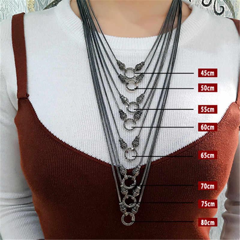 V. YA เงินสร้อยคอสร้อยคอยาวสำหรับผู้หญิง 925 เงินสเตอร์ลิง Marcasite หินสร้อยคอจี้ 1.5 มม.60 ซม.70 ซม.75 ซม.80 ซม.