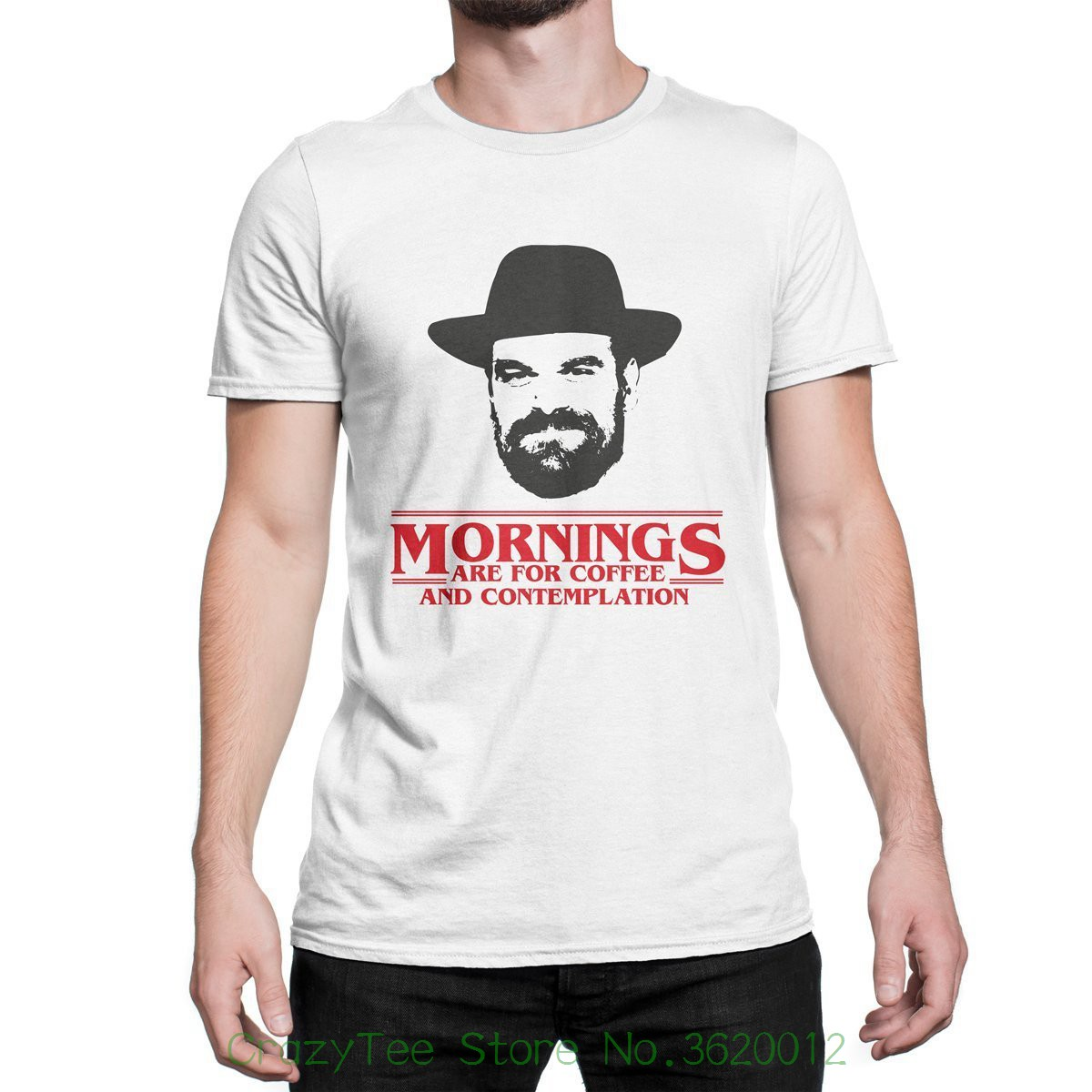 Us 1255 7 Offshort Sleeve Brand Mornings Are For Coffee And Contemplation Shirt Chief Hopper Quote T Shirt Jim Hopper Tee In T Shirts From Mens