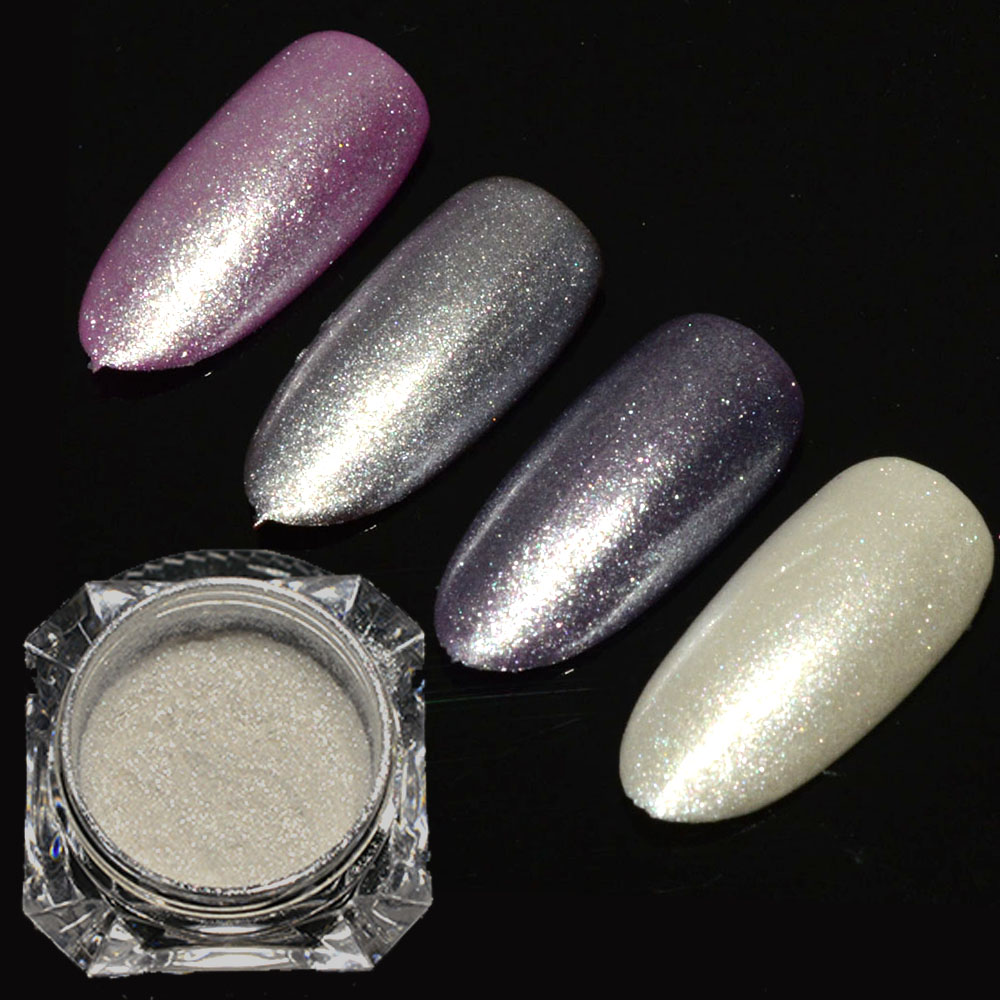 1 Box Diamant Perle Nagel Glitter Staub Pulver Nail art Glitter Weiß ...