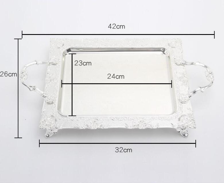 Модный прямоугольный серебряный металлический поднос, металлические противни для пирожных, декоративные сервировочные пищевые лотки, Сервировочная тарелка FT020 - Цвет: style 1 small size