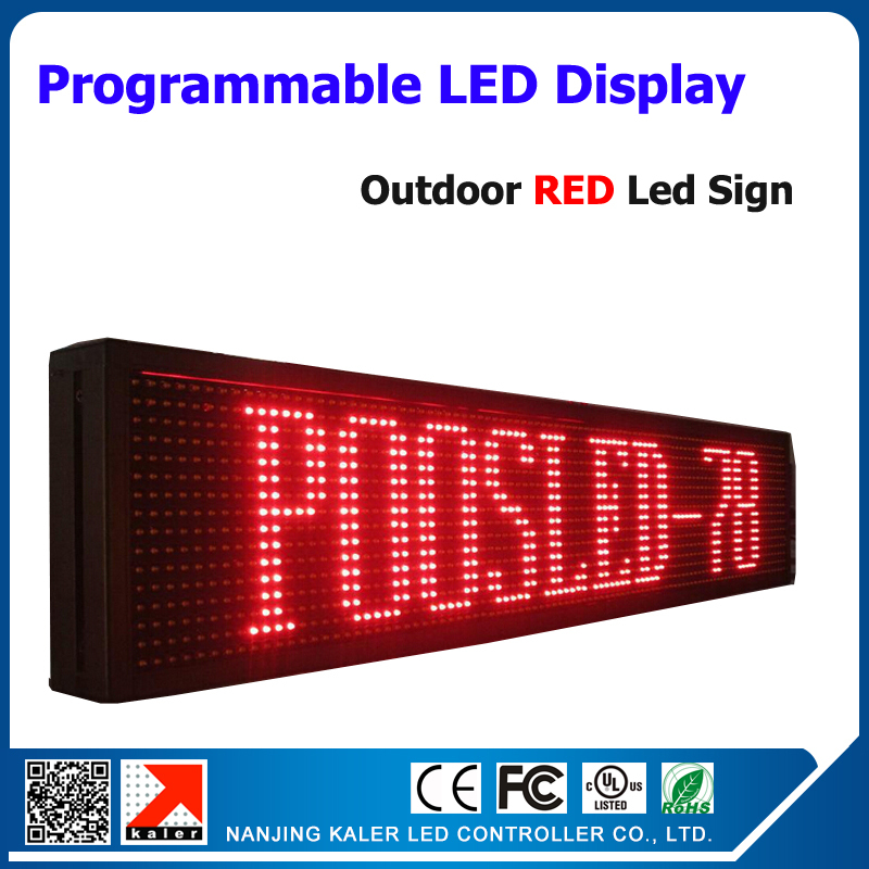 En plein air rouge couleur led moving affichage de texte led sceen led signe, en plein air led panneau d'affichage p10 16*128 pixel dor matrice