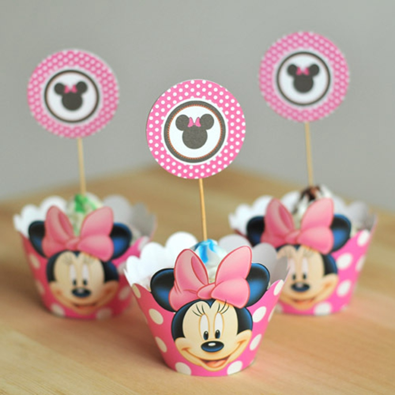 Minnie Mouse Cupcake Wrappers Wrapper And Toppers Decoration Birthday Party Decorations Kids Event Supplies B074