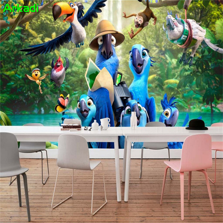 Living Room Background Animated: Happy Childhood Blue Parrot Photo Wallpaper HD Mural