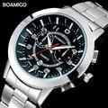 Мужские часы  топовые брендовые Роскошные Кварцевые часы BOAMIGO  деловые стальные часы с автоматической датой  2017  наручные часы в подарок