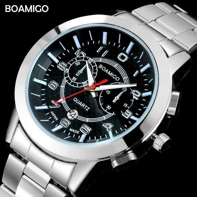 a8f34ca7b18 Homens relógios top marca de luxo relógio de quartzo negócio BOAMIGO aço  auto data relógios presente