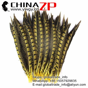 CHINAZP Feathersy 25 to 30cm Exporting Good Quality Yellow Dyed Lady Amherst Pheasant Feathers for DIY Craft Decoration