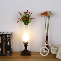 Pastoral Rural Iron Glass Vase Led E27 Table Lamp For Living Room Bedroom Restaurant Coffee Bar Deco H 52cm 2165