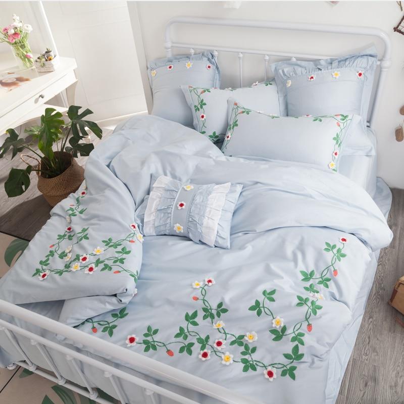 4Pcs Bed Sheet Pillowcase Duvet cover set Blue Luxury Princess style Bedding sets king queen size Bedlinen 100% Egyptian Cotton