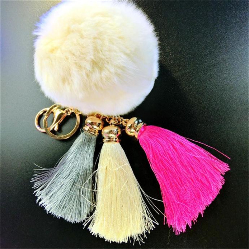 Keychain Lower Price with 2016 New Arrivel Fluffy Rabbit Fur Cell Phone Bag Strap Pendant Squishes Charm Women Bag Accessories