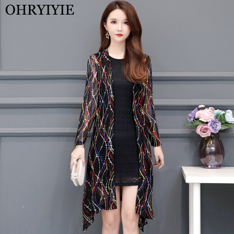 OHRYIYIE Plus Size 5XL Thin Printed Cardigan Sweater Women Poncho 2020 Spring Summer Fashion Long Knit Sweaters Female Tops Coat