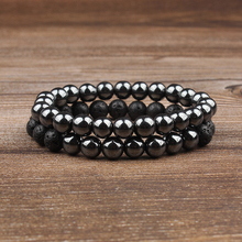 Lingxiang  8mm Natural volcanic rock lava black bracelet style fashion is suitable for men and women to wear jewelry