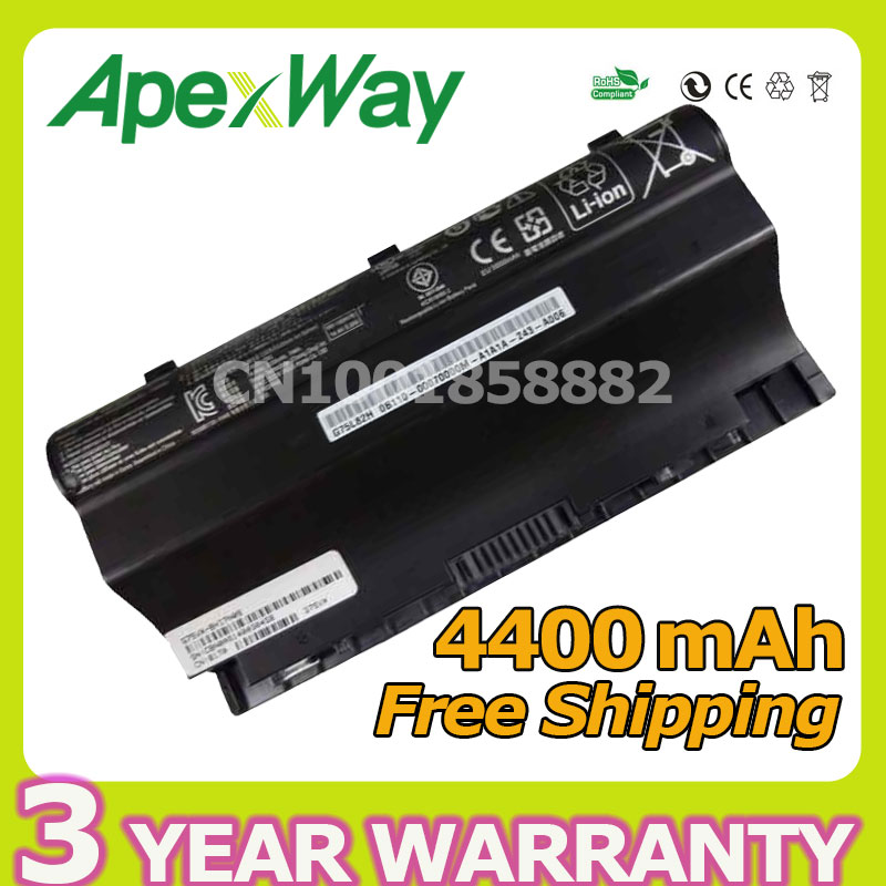 Apexway 4400mAh 14.8V 8 cells Laptop Battery for Asus G75 G75VW G75V3D G75V G75VX G75VM3D G75VM G753D G75VW3D