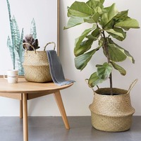 Household Foldable Natural Seagrass Woven Storage Pot Garden Flower Vase Hanging Basket With Handle Storage Bellied