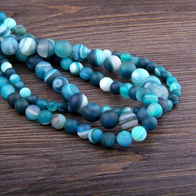 6 8 10 MM mat perles de pierre naturelle poli rayures bleues Agates perles de pierre bricolage entretoise perles en vrac pour la fabrication de bijoux bracelet