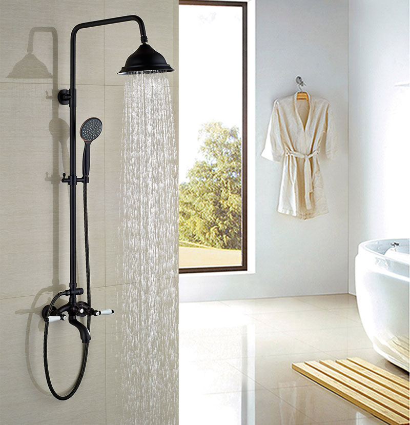 New Arrival Oil Rubbed Broze 8 Shower Faucet W/Hand Shower Tap Bathroom Swivel Spout Faucet Mixer Faucet
