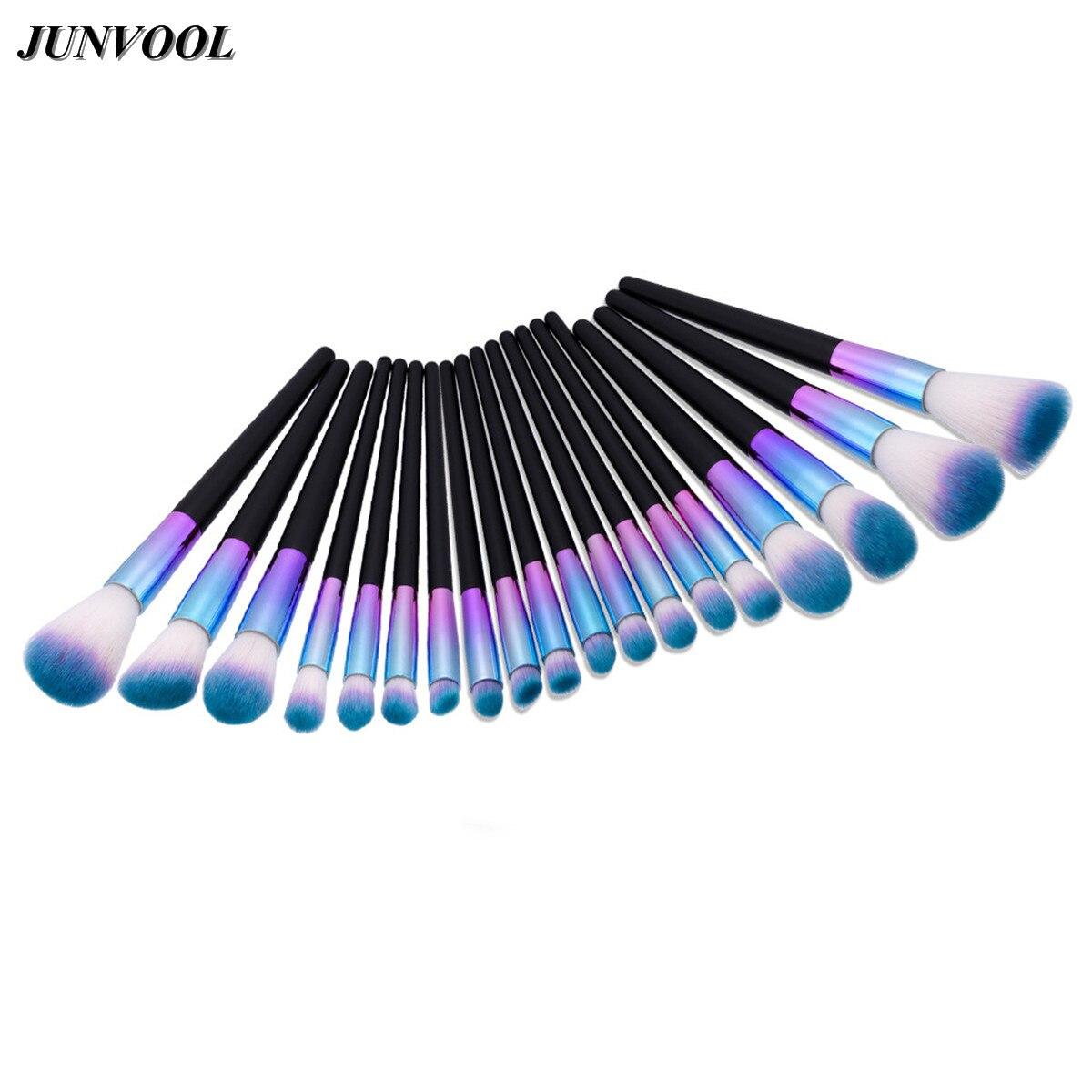 Glitter Blue Makeup Brushes Set 19Pcs Soft Hair Professional Artist Brush Cosmetic Make Up Tools Cosmetics Blending Maquiagem