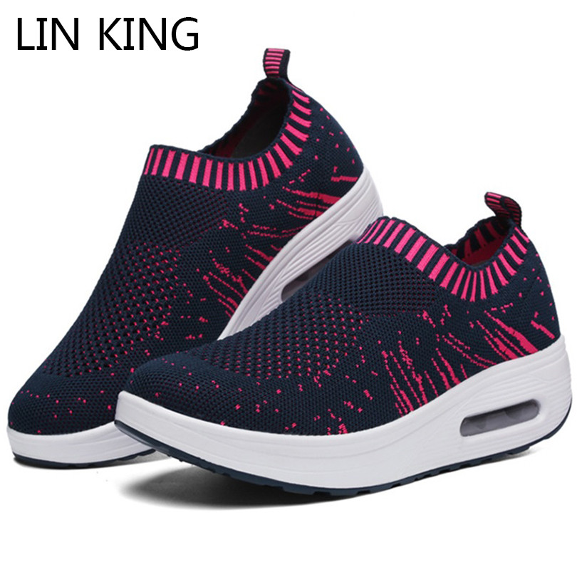 LIN KING Comfortable Mesh Knit Women Swing Shoes Slip On Wedges Platform Shoes Casual Height Increase Loafers Ladies Sneakers