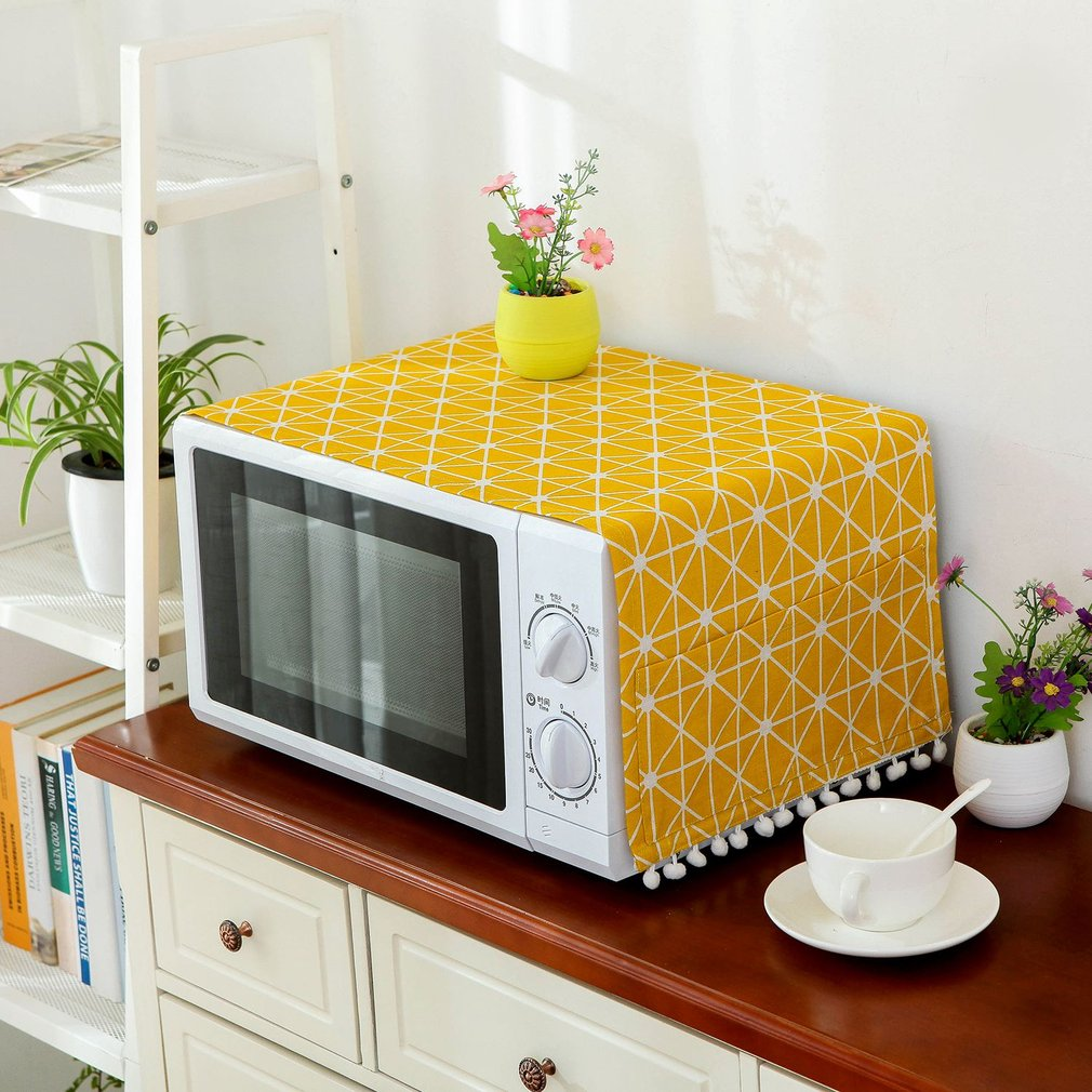 1 Piece Microwave Oven Dust Covers Proof Cover With Side Puch Bag Cotton Linen Kitchen Storage Bags Tassel Home Supply Drop Ship