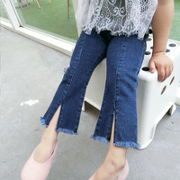 2018 New Arrival Children pants jeans boot cut trousers fashion medium water jeans girls sweet Kawaii kids summer jeans autumn