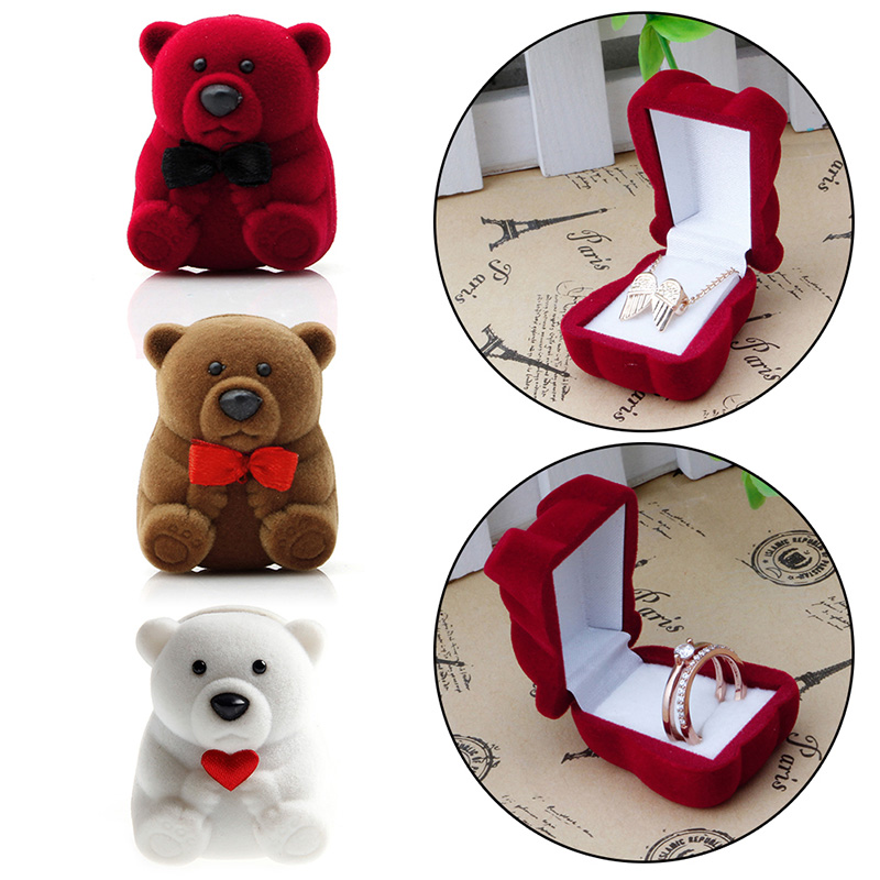 Mini Red Cute Bear Jewllery Gift Boxes for Rings and Small Earrings Pendant Necklace concise and cute bronze star pendant necklace