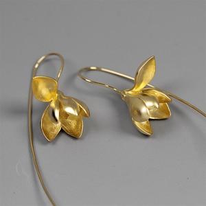 Image 3 - Lotus Fun Moment Real 925 Sterling Silver Handmade Designer Fashion Jewelry Elegant Magnolia Flower Dangle Earrings for Women