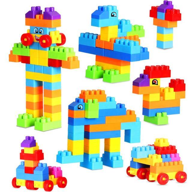 110pcs plastic kids model building brick kits baby early educational match block game child. Black Bedroom Furniture Sets. Home Design Ideas
