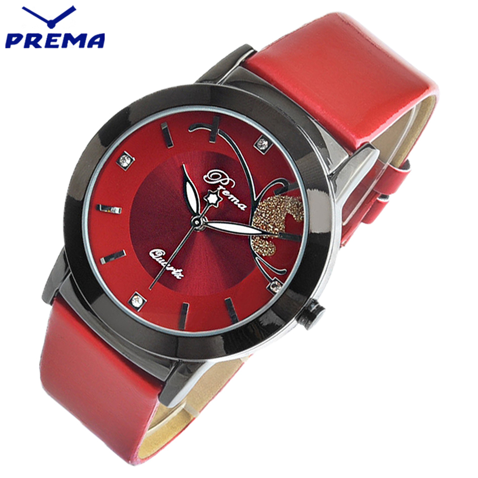 PREMA Brand Women Watches Fashion Quartz-watch Women's Clock Relojes Mujer Dress Ladies Watch Business Sport Red Leather Female xinge brand fashion women quartz wrsit watches clock leather strap business watch ladies silver luxury female sport womens watch