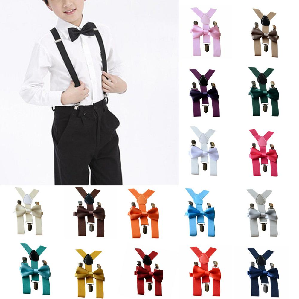 Kids Children Baby Boys Girls Adjustable Braces Elastic Suspenders+Solid Bow Tie Set 2pcs Fit For 1-10years Old Pajarita Bebe