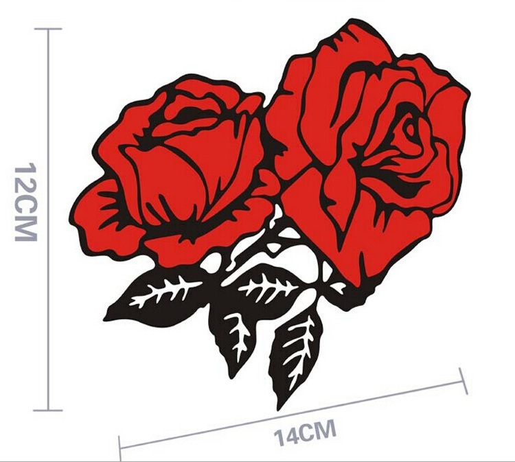 New car styling red rose flower car stickers bumper window decal for toyota ford chevrolet volkswagen tesla honda hyundai kia in car stickers from