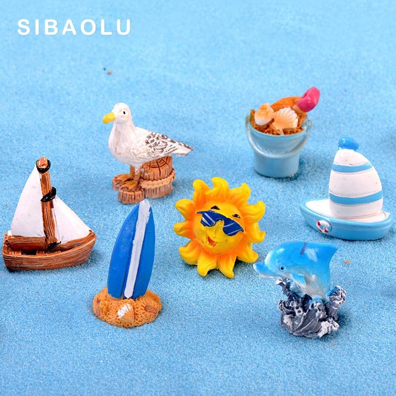 Summer Sun Dolphin Beach Boat Pigeon Figurine Starfish Resin Craft Home Decor Miniature Fairy Garden Decoration Accessories Toys