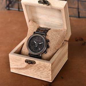 Image 4 - BOBO BIRD ساعة رجالية كرونوغراف ساعة معصم كوارتز فاخرة من الفولاذ المقاوم للصدأ مع تقويم relojes de marca famosa كريستما