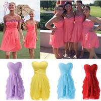 Sexy 2019 Romantic Cora Colored Short Bridesmaid Dress Chiffon Mini Short Dress Wedding Party Dress Bridesmaid Dresses