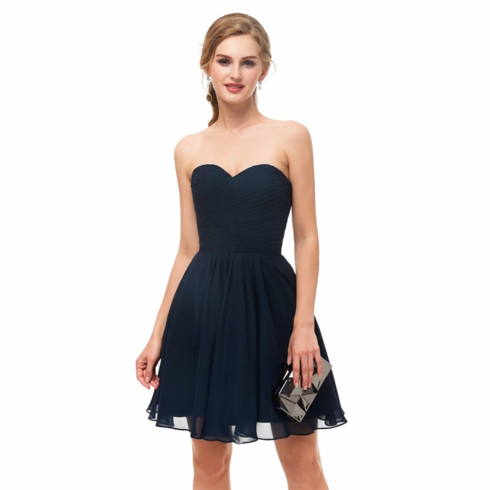 19b872bb2b4a 2019 Short Ruched Chiffon Navy Blue Cocktail Dress Sweetheart Above Knee  Teens Informal Cocktail Party Dress