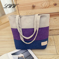 Casual Panelled Canvas Tote Bags for Women Stripes Printing Large Bags Handbags Women Famous Brands Simple Student Girl Handbags