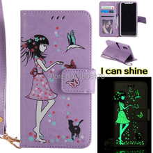 Tinkerbell Girl Wallet Leather Pouch Case For Samsung Galaxy NOTE8 NOTE 8 Glow in dakr Lumious Strap Cell Phone Skin Cover 1pcs