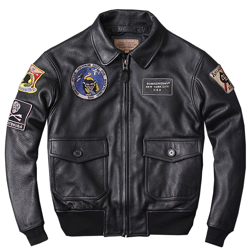 HARLEY QUETSCHE Noir Hommes Militaire Véritable Pilote En Cuir Veste Plus La Taille 3XL Vachette Épaisse D'hiver CAV-59 Vol En Cuir Manteau