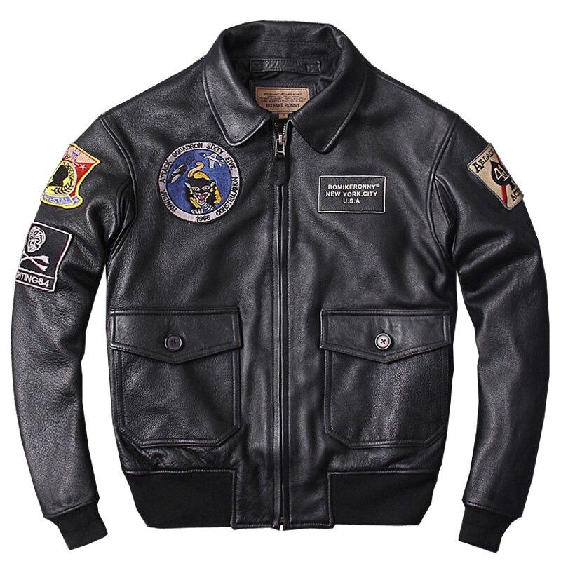 HARLEY ciruela Negro hombres militar piloto genuino chaqueta de cuero más tamaño 3XL vaca gruesa invierno CAV-59 vuelo cuero