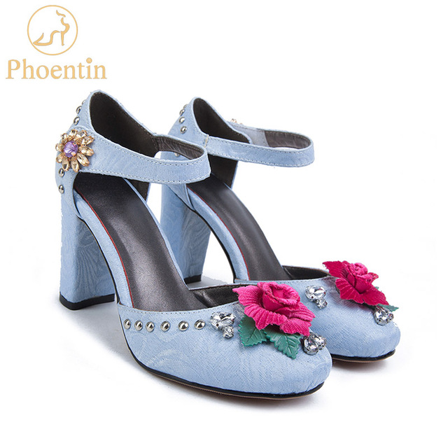 Phoentin blue wedding shoes 2019 bride jacquard fabric mary jane crystal ladies high heel shoes with flower hook & loop FT368