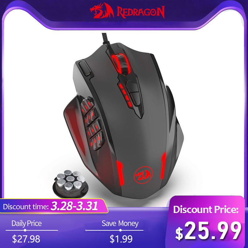 US $27 98 35% OFF|Redragon M908 IMPACT 12400 DPI RGB LED MMO Mouse Laser  Wired Gaming Mouse High Precision 19 Programmable Mouse Buttons -in Mice  from