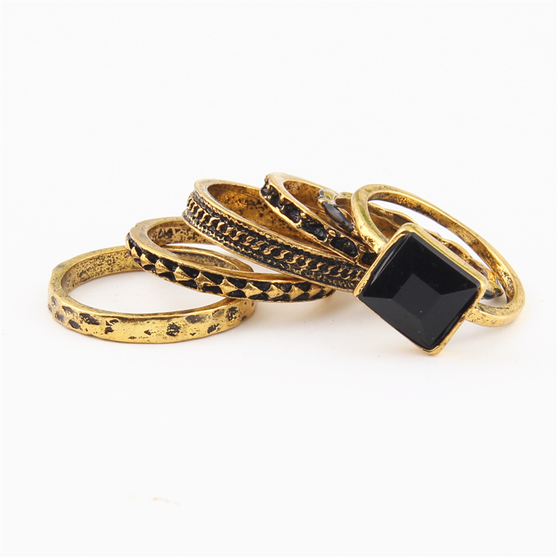 Mwsonya 6pcs Set New Bohemian Style Rings Fashion Vintage Geometric Ring Set For Women 3d3015 In