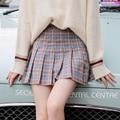 Estilo de muy buen gusto de Las Mujeres de la Tela Escocesa Plisada Faldas Chica de Cintura Alta Mini Falda de 3 Colores