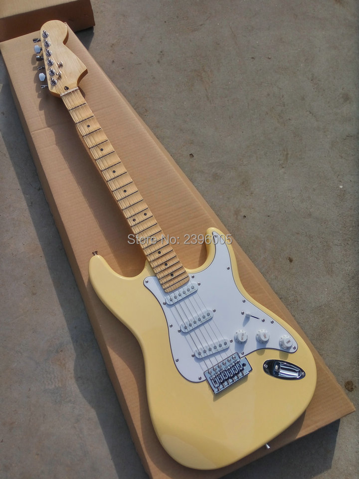 Hot sale cream yellow st guitar, big head stock,scalloped Fingerboard,st guitar. 22 frets maple fingerboard electric guitar free shipping new arrival on sale f stratocaster sky blue custom body maple fingerboard electric guitar in stock 16