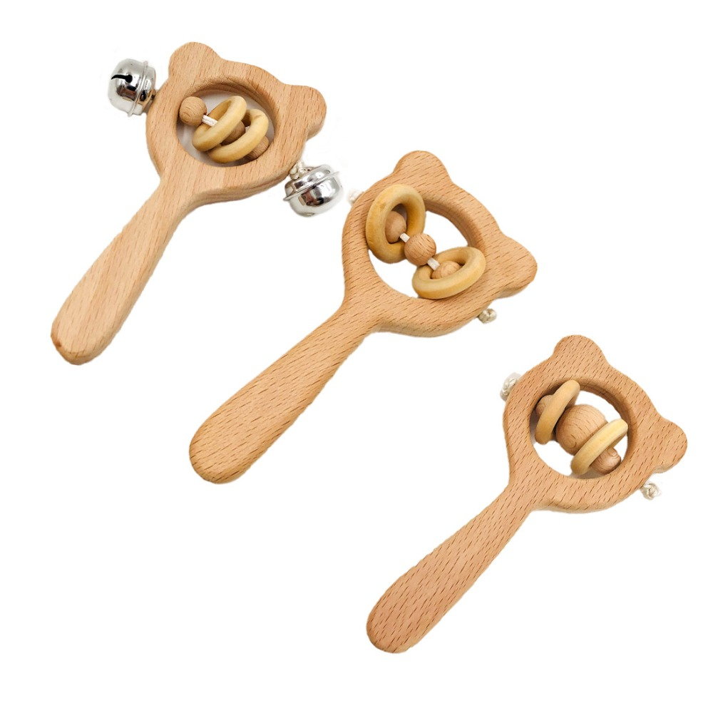 New Arrival Baby Toys Beech Wood Bear Hand Teething Wooden Ring Can Chew Beads Baby Rattles Play Gym Montessori Stroller Toys