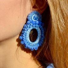 MANILAI Handmade Crystal Beads Earrings for Women Oval Big Drop Bohemian Jewelry Beaded Dangle Ear Accessories