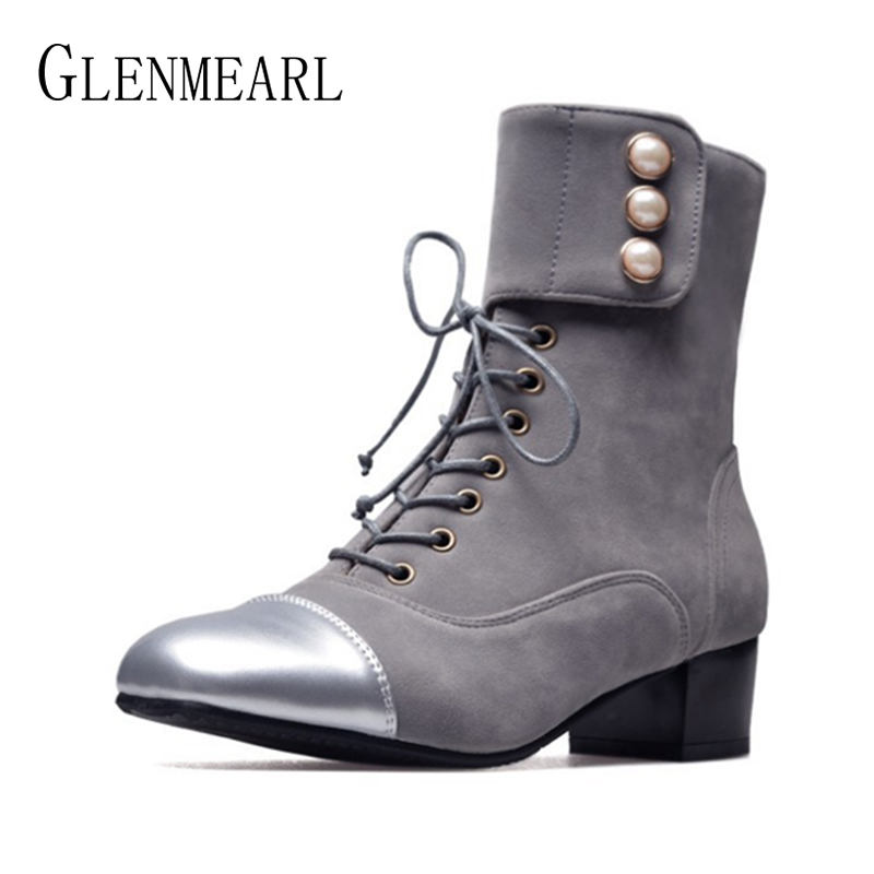 Women Boots Winter Shoes Warm Chunky High Heels Ankle Martin Boots Woman Black Pearl Lace Up Female Short Boots Plus Size DE whitesun plus size boots women martin boots autumn winter shoes female ankle boots buckle retro style chunky heel short boots