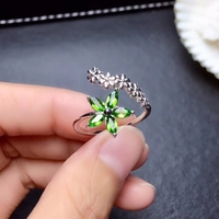 Fashion Open design Wheat spike Flower Natural green diopside Ring S925 Silver Natural Gemstone Ring Women party gift Jewelry