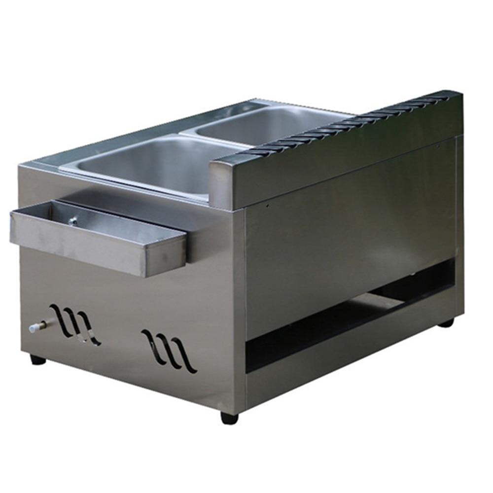 Купить с кэшбэком Commercial Kitchen 2 Fry Baskets Stainless Steel Gas DeepFryer Industrial Gas Deep Fryers